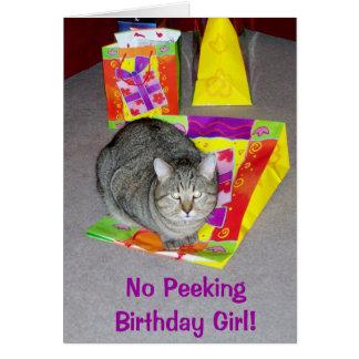 Födelsedagkort för kattälskare - flicka hälsningskort