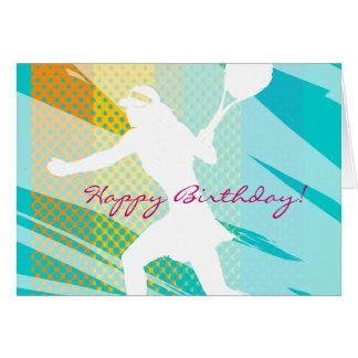 Födelsedagkort för tennis med tennisspelaredesign hälsningskort