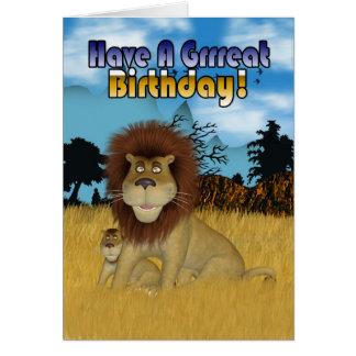 Födelsedagkort med den lejona tecknaden och ungen hälsningskort