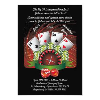 Födelsedagmanen någon åldras, poker, dobblerit, 12,7 x 17,8 cm inbjudningskort