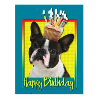 Födelsedagmuffin - Boston Terrier Vykort