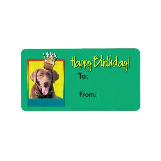 Födelsedagmuffin - Labrador - choklad Adressetikett