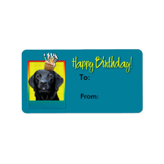 Födelsedagmuffin - Labrador - svart - Gage Adressetikett