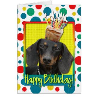 Födelsedagmuffin - tax - Winston Hälsningskort