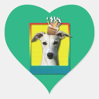 Födelsedagmuffin - Whippet Hjärtformat Klistermärke