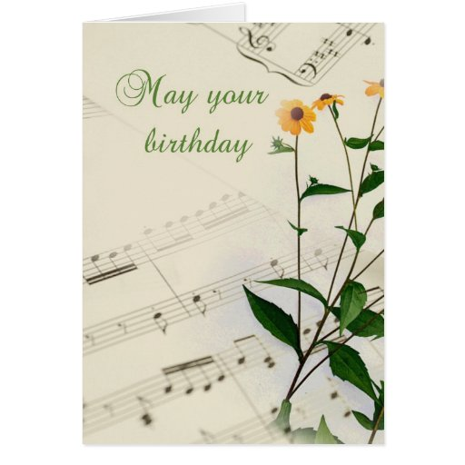 Födelsedagmusik noter och vildblommar kort