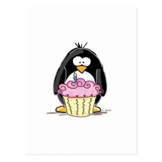 Födelsedagpingvin med muffin vykort