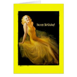 Födelsedagpinup i gult OBS kort