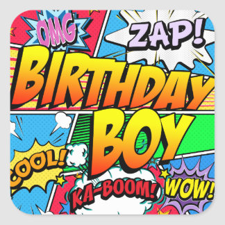 Födelsedagpojkehumorbok Fyrkantigt Klistermärke