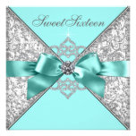Födelsedagsfest 16 för blått för vitdiamantkricka  personliga inbjudningskort