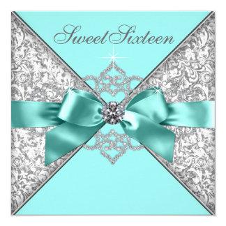 Födelsedagsfest 16 för blått för vitdiamantkricka fyrkantigt 13,3 cm inbjudningskort