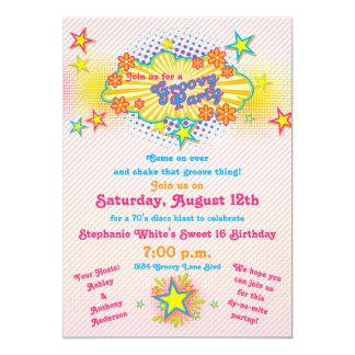 födelsedagsfest 16 för Groovy disko för 70-taltema 12,7 X 17,8 Cm Inbjudningskort
