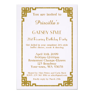 Födelsedagsfest 21st, Gatsby stil, rodna rosa guld 12,7 X 17,8 Cm Inbjudningskort