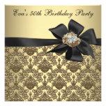 Födelsedagsfest för damast 50th för guld svart anpassade tillkännagivande