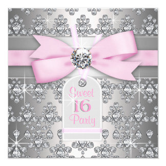 Födelsedagsfest för för silverdiamantrosor och fyrkantigt 13,3 cm inbjudningskort