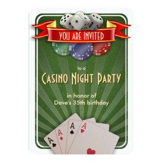 Födelsedagsfest för kasinopokernatt 12,7 x 17,8 cm inbjudningskort