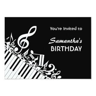 Födelsedagsfest för musik noter för vit för 12,7 x 17,8 cm inbjudningskort