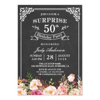 Födelsedagsfest för överrrakning för svart tavla 12,7 x 17,8 cm inbjudningskort