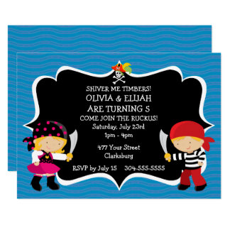 Födelsedagsfest för pirat för 12,7 x 17,8 cm inbjudningskort