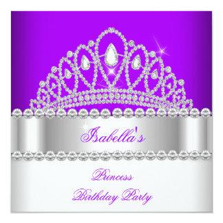 Födelsedagsfest för Princess Lila Diamant Tiara Fyrkantigt 13,3 Cm Inbjudningskort