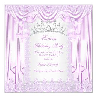 Födelsedagsfest för Princess Lila Snöra åt Tiara Fyrkantigt 13,3 Cm Inbjudningskort