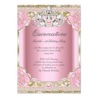 Födelsedagsfest för Princess Quinceanera Rosa 12,7 X 17,8 Cm Inbjudningskort