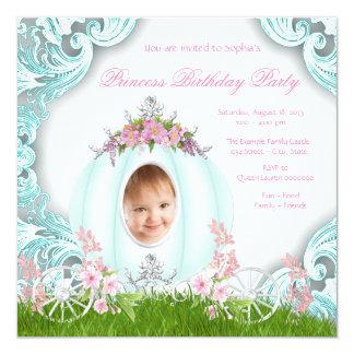 Födelsedagsfest för Princess Vagn Foto Rosa Kricka Fyrkantigt 13,3 Cm Inbjudningskort