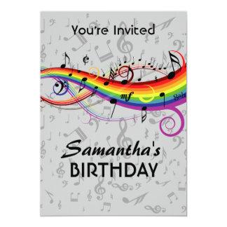 Födelsedagsfest för regnbågeBlck musik noter 12,7 X 17,8 Cm Inbjudningskort