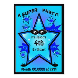 Födelsedagsfest för ungeSuperherostjärngosse Personliga Inbjudan
