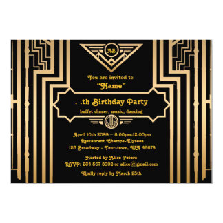 Födelsedagsfest Gatsby stil, art déco, gold&black 12,7 X 17,8 Cm Inbjudningskort
