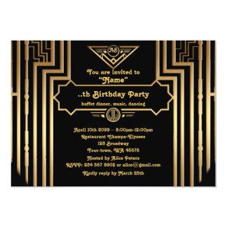 Födelsedagsfest Gatsby stil, art déco, guldsvart 12,7 X 17,8 Cm Inbjudningskort