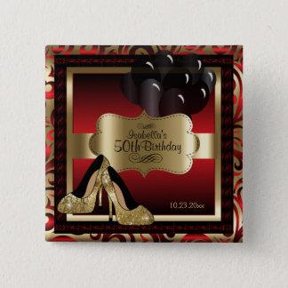 Födelsedagsfest guld- | som är röd och standard kanpp fyrkantig 5.1 cm