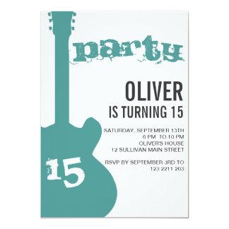 Födelsedagsfest inbjudan - blåttgitarrSilhouette