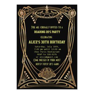 Födelsedagsfest inbjudan för art décoGatsby stil