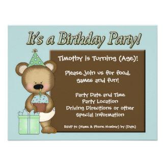 Födelsedagsfest inbjudan för blåttmuffinbjörn