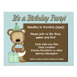 Födelsedagsfest inbjudan för blåttmuffinbjörn 10,8 x 14 cm inbjudningskort
