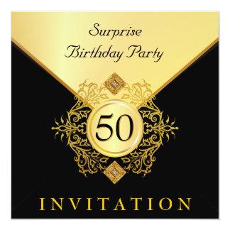 Födelsedagsfest inbjudan för guldsvartöverrrakning