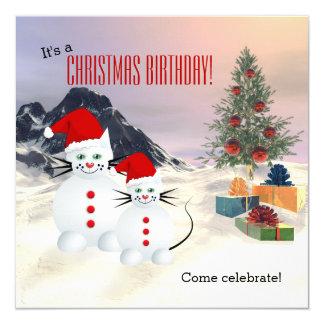 Födelsedagsfest inbjudan för jul för snökattungar