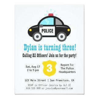 Födelsedagsfest inbjudan för polisbilpojkar