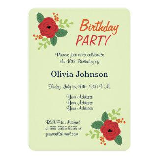 Födelsedagsfest inbjudan för röd rosblommigtgrönt