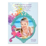 Födelsedagsfest inbjudan för Seahorseramfoto