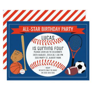Födelsedagsfest inbjudan för ungebaseballsportar