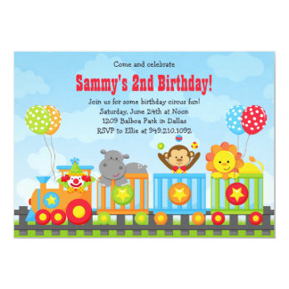 Födelsedagsfest inbjudan för ungecirkuståg