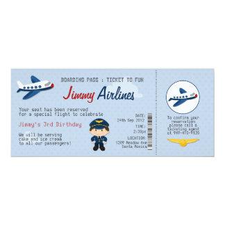 Födelsedagsfest inbjudan för ungeflygbolagbiljett