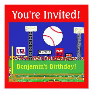 Födelsedagsfest inbjudan för ungesportbaseball