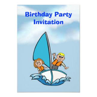 Födelsedagsfest inbjudan med att segla för ungar