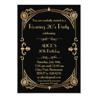 Födelsedagsfest inbjudan någon åldras, art déco
