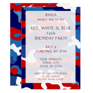 Födelsedagsfest inbjudan rött vitt blått Camo
