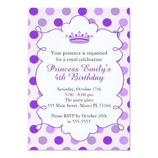 Födelsedagsfest Invititation för Princess Lila 12,7 X 17,8 Cm Inbjudningskort
