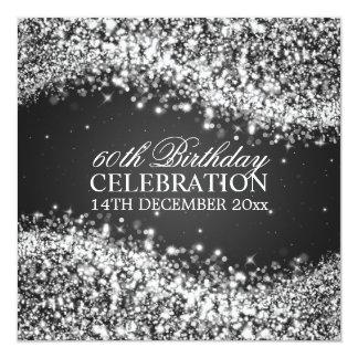 Födelsedagsfesten för eleganten som 60th fyrkantigt 13,3 cm inbjudningskort
